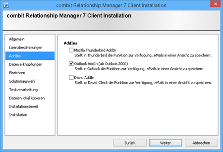 cRM Client Installation - Option: Outlook AddIn